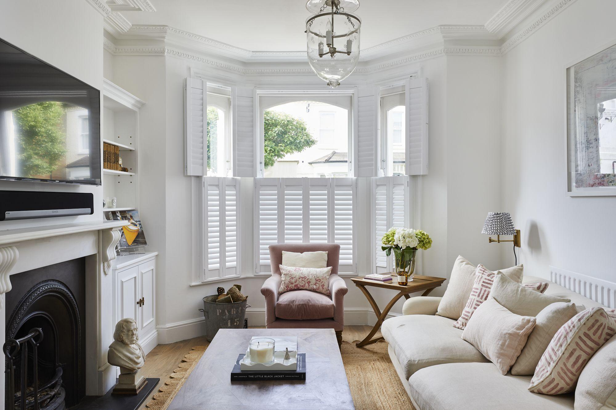 bay window shutters living room in 2020  bay window