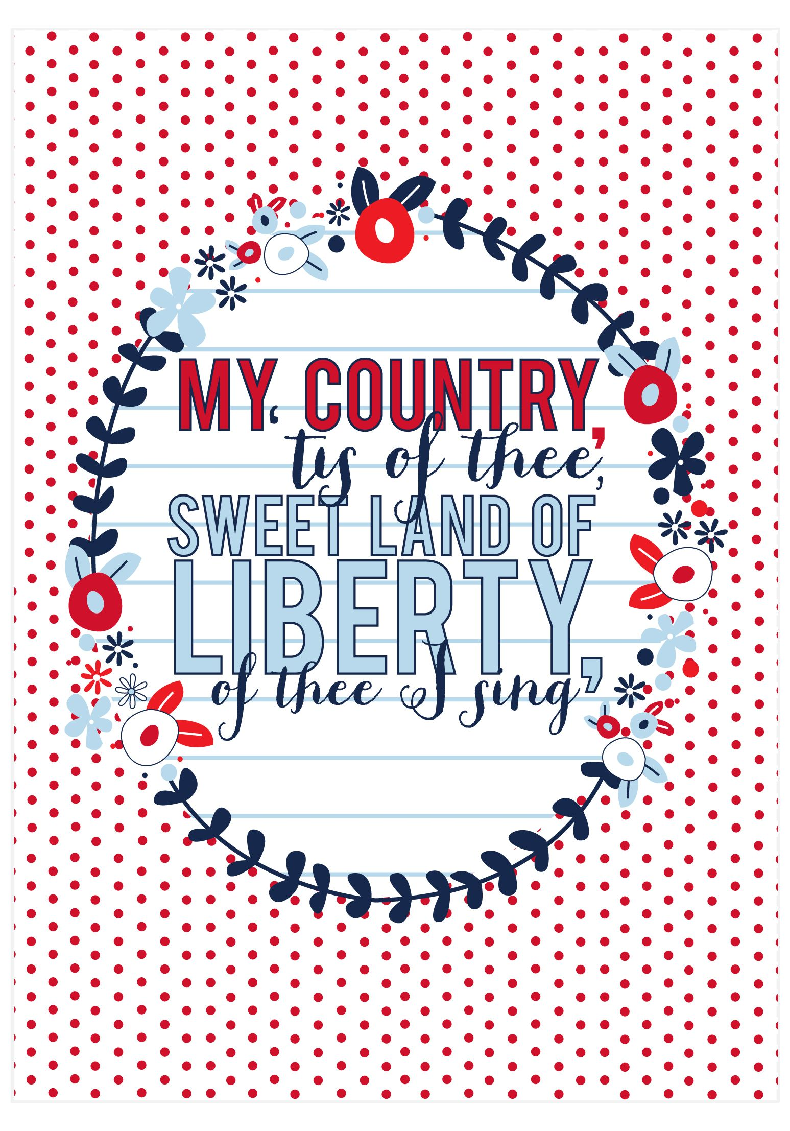 My Country Tis Of Thee Print Free Printable