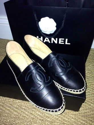 shoes chanel leather espadrilles