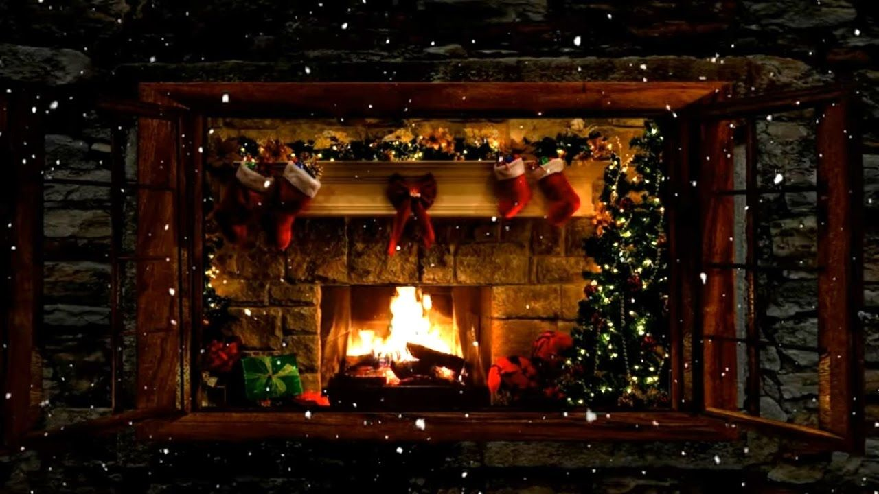 ??Christmas Fireplace Window Scene with Snow and Crackling Fire Sounds