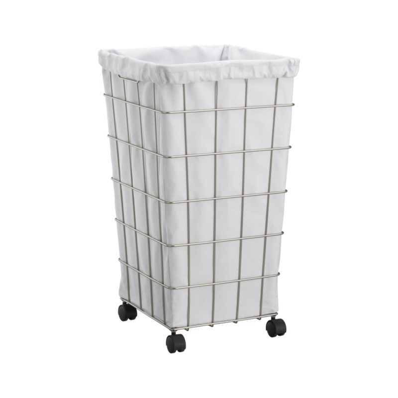 Nickel Wire Hamper With White Liner Set Reviews Crate And