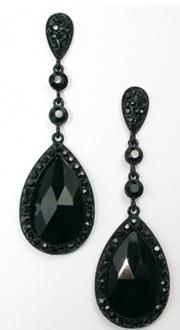 Black Chandelier Earrings Tear Drop Jet Crystal Earring Set Prom