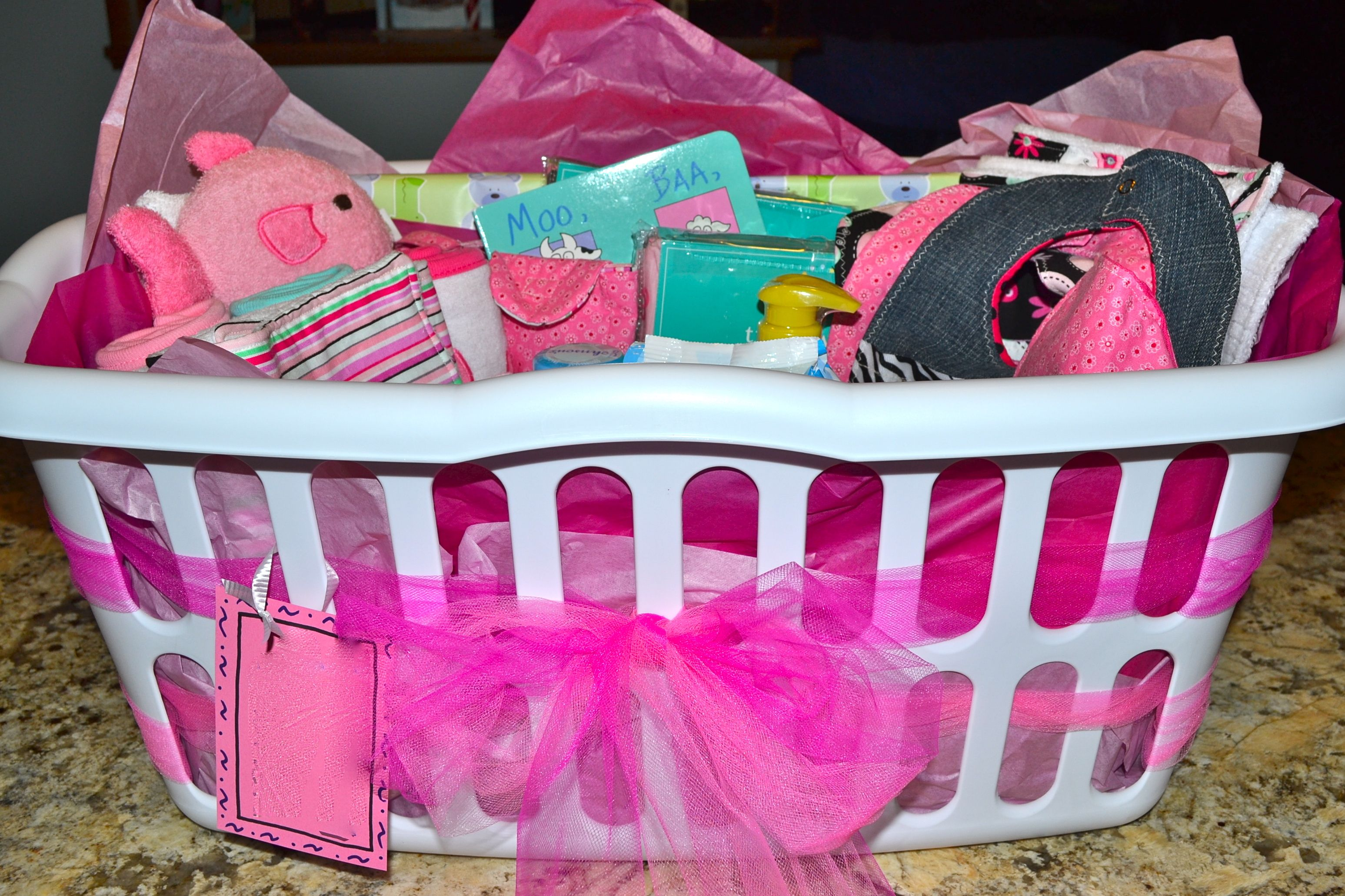 Baby Shower Gift Idea - fill a basket with goodies - diapers, wipes ...