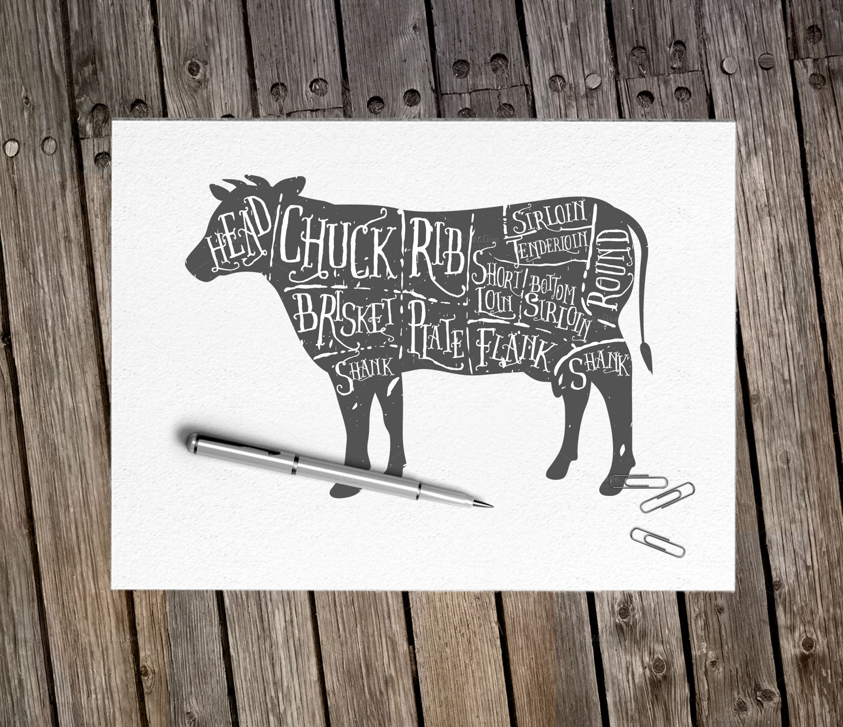 vintage butcher cuts of beef diagram - illustrations - 2