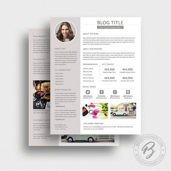 Blog Media Kit Template 04 - Press Kit - Pitch Kit - Word Blog Media ...