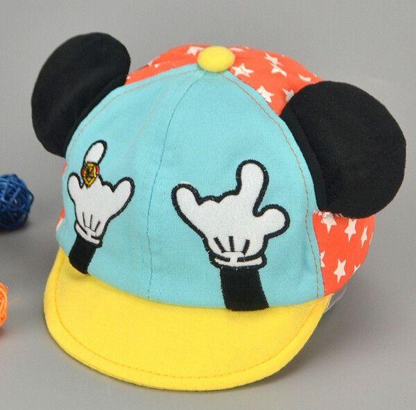 485de23e7d449 High Quality 3 D Cartoon M mouse infants Jeans hat denim color newborn cute  boy baseball