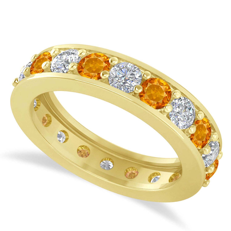 Diamond citrine eternity wedding band 14k yellow gold 2