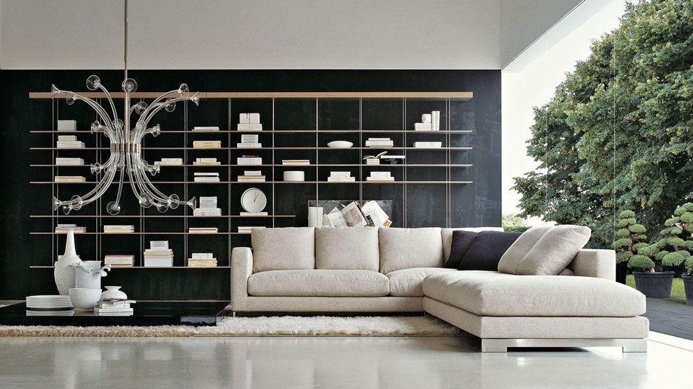 Divan et lustre design. Etagère. http://www.denisinterieur.be/ #meubles #design #salon #déco #maison #mobilier  #inspiration #home #moderne #contemporain #intérieur