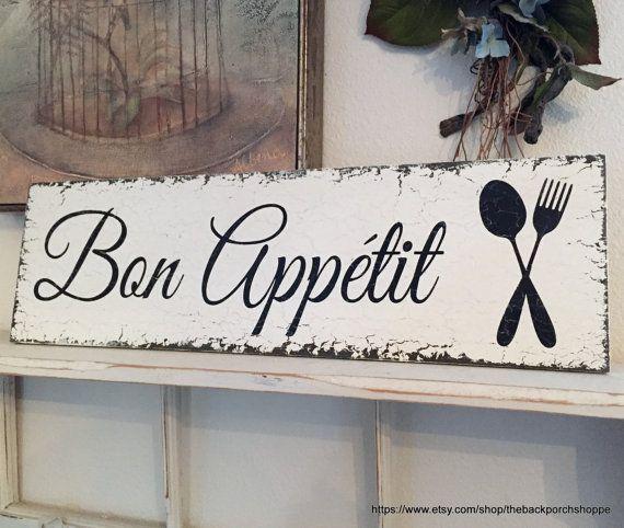 Kitchen Signs Decor Bon Appétit Signes Français Cuisine Signes Par Thebackporchshoppe