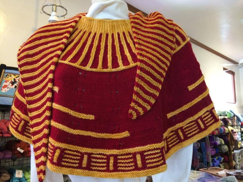 Rockerfeller shawl in 49er colors