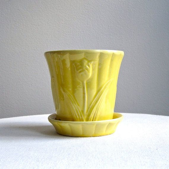 Vintage American Pottery Flower Pot With Tulip Design Yellow Glaze