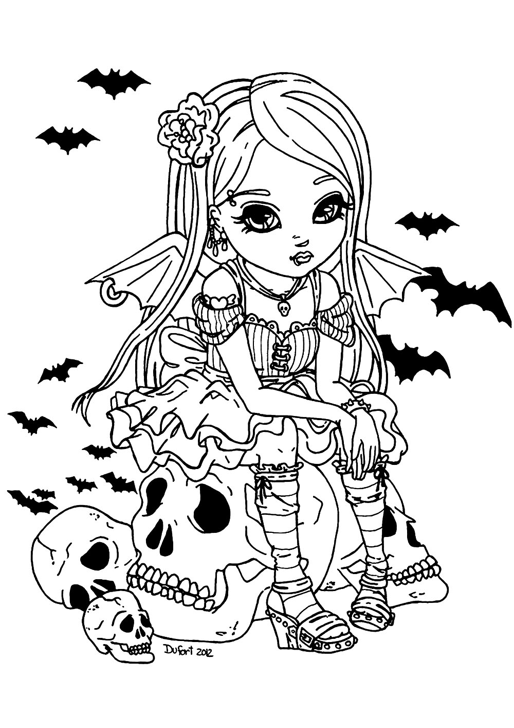 Color This Cute Little Vampire Girl Sitting On A Big Skull Witch Coloring Pages Halloween Coloring Pages Skull Coloring Pages