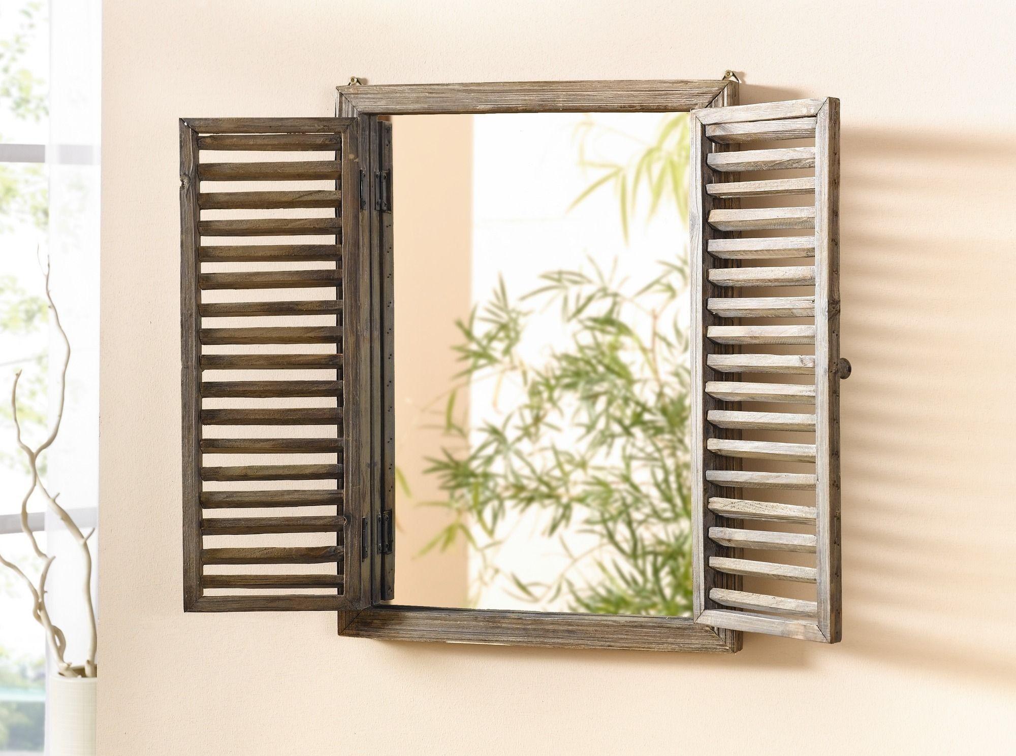 Holz spiegel fenster wohnambiente shop badezimmer for Spiegel badezimmer holz