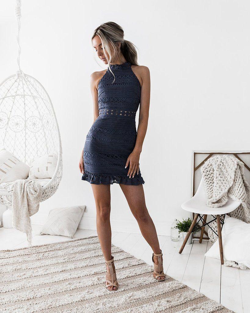 Rivers Dress - Steele Blue #shortbacklessdress