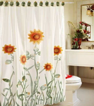 Amazon Com White Green And Yellow 3d Sunflower Shower Curtain