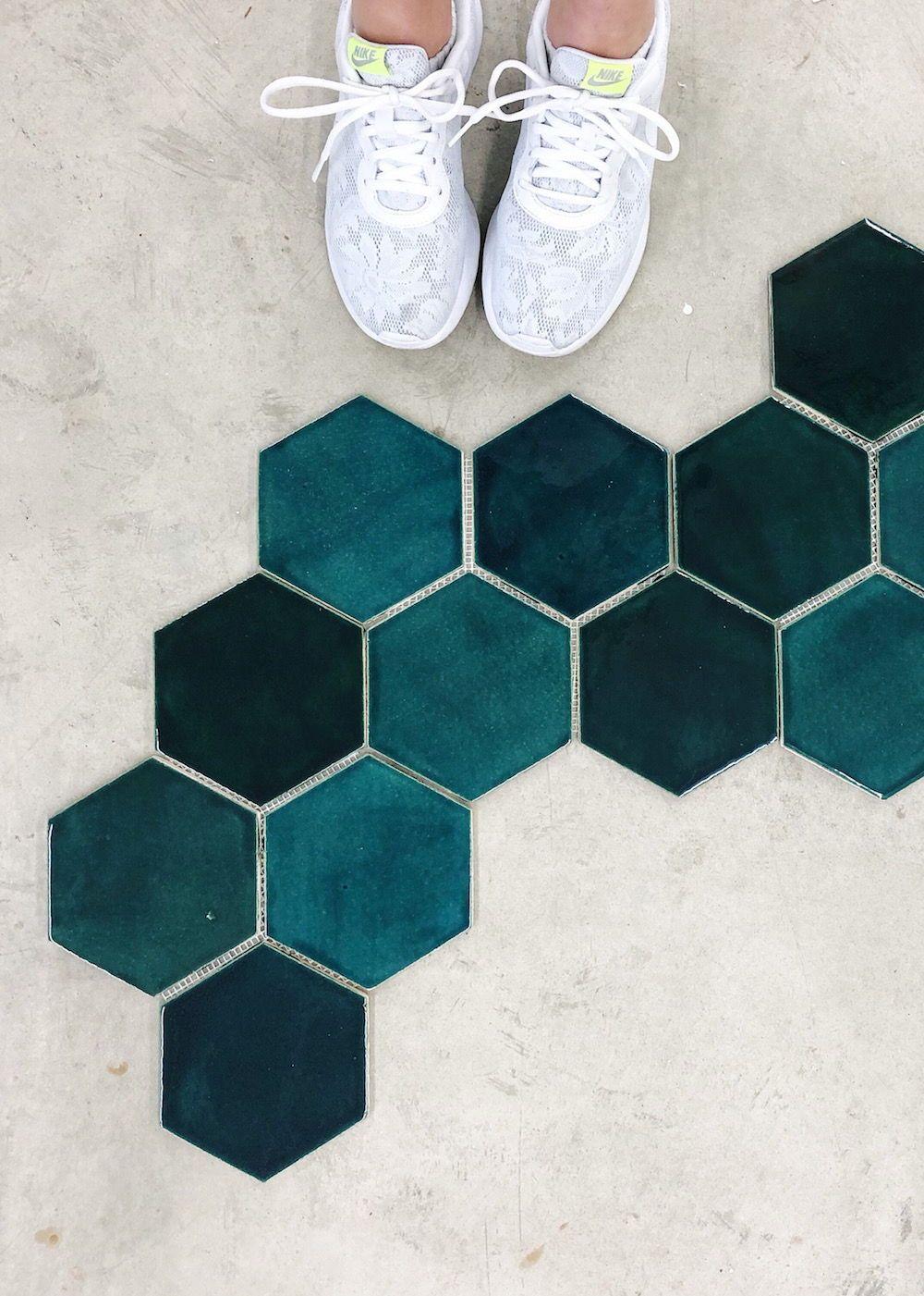 Large Hexagon 1036w Bluegrass Hexagon Tile Floor Hexagon Hexagon Tile Bathroom