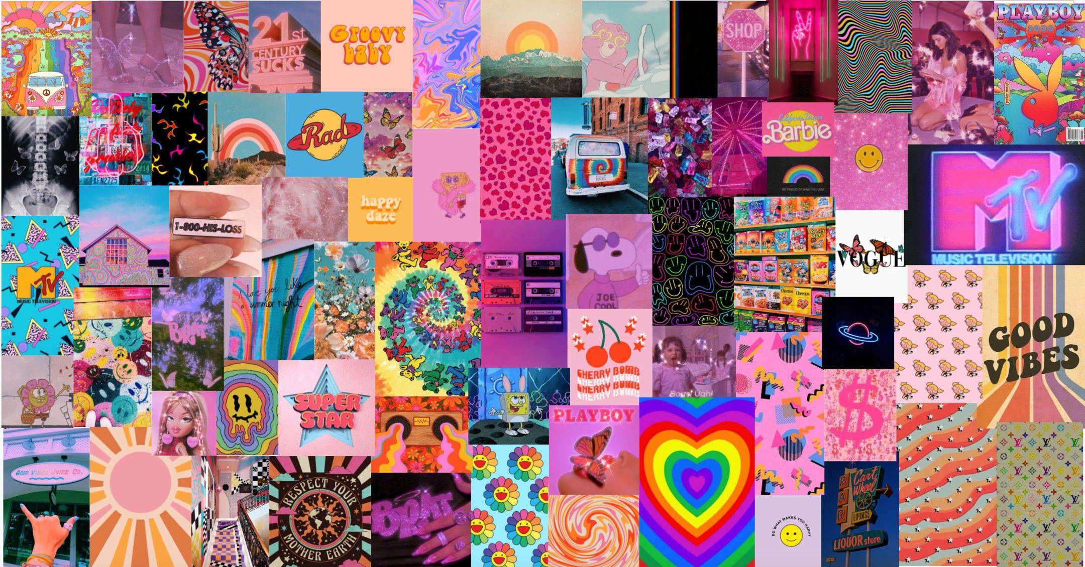 Retro Rainbow Vibes Aesthetic Wall Collage Kit - Digital Download - 70pcs