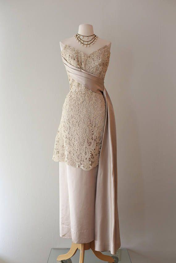 Vintage 1950s Couture Battenburg Lace Evening Gown By Nietta ...
