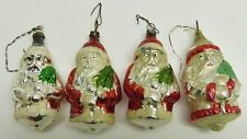 4 Stuck Alter Weihnachtsmann Christbaumschmuck Aus Lauscha Glas I444