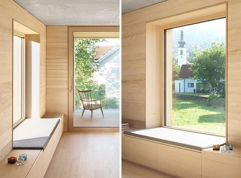 This Window Has A Deep Sill And Upholstered Cushion That Extends Out To Join Up With The Cabinetry That Moderne Fenster Innenarchitektur Wohnzimmer Sitzfenster