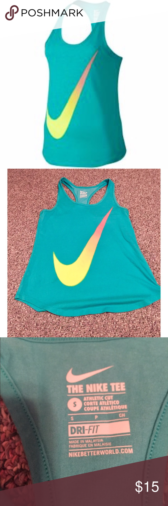✨NWOT✨ Nike Gradient Swoosh Tank Top New without tags. Size Small. Turquoise blue color with colorful gradient swoosh on front. Nike Tops Tank Tops