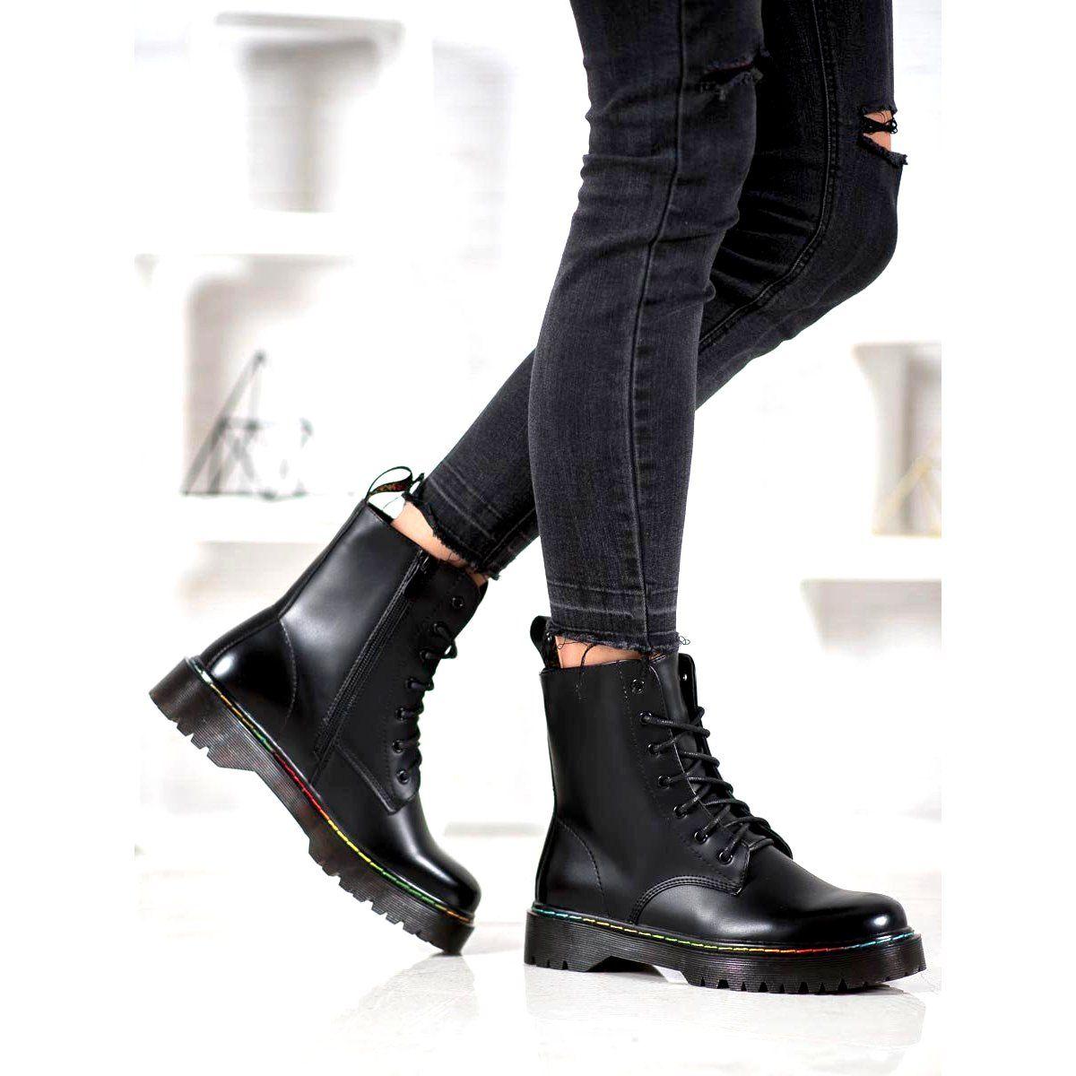 Bella Paris Lace Up Workers Black Black Boots Women Boots Boot Shoes Women