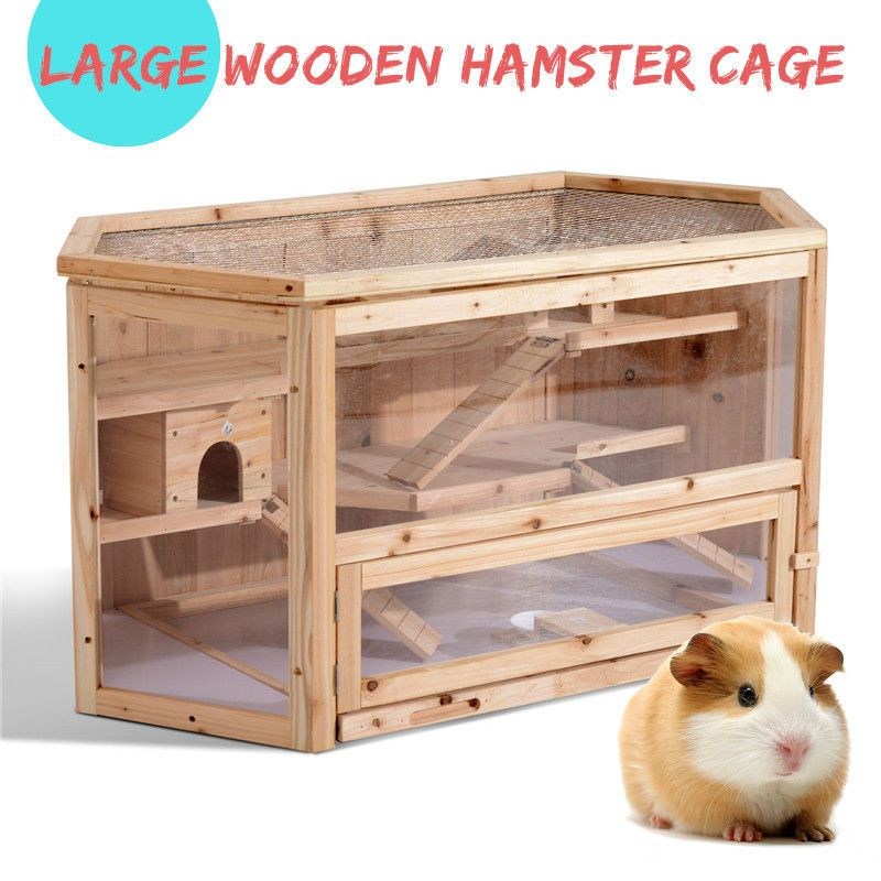 3 Tier Wooden Hamster Cage House Rodent Mouse Pet Small Animal Wood Layers Kit Meco Small Pets Hamster Cage Hamster