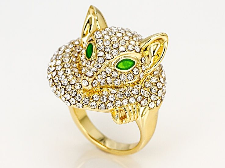 0a2ef74cb White Crystal and Green Enamel Gold Tone Fox Ring in 2019 | Products ...