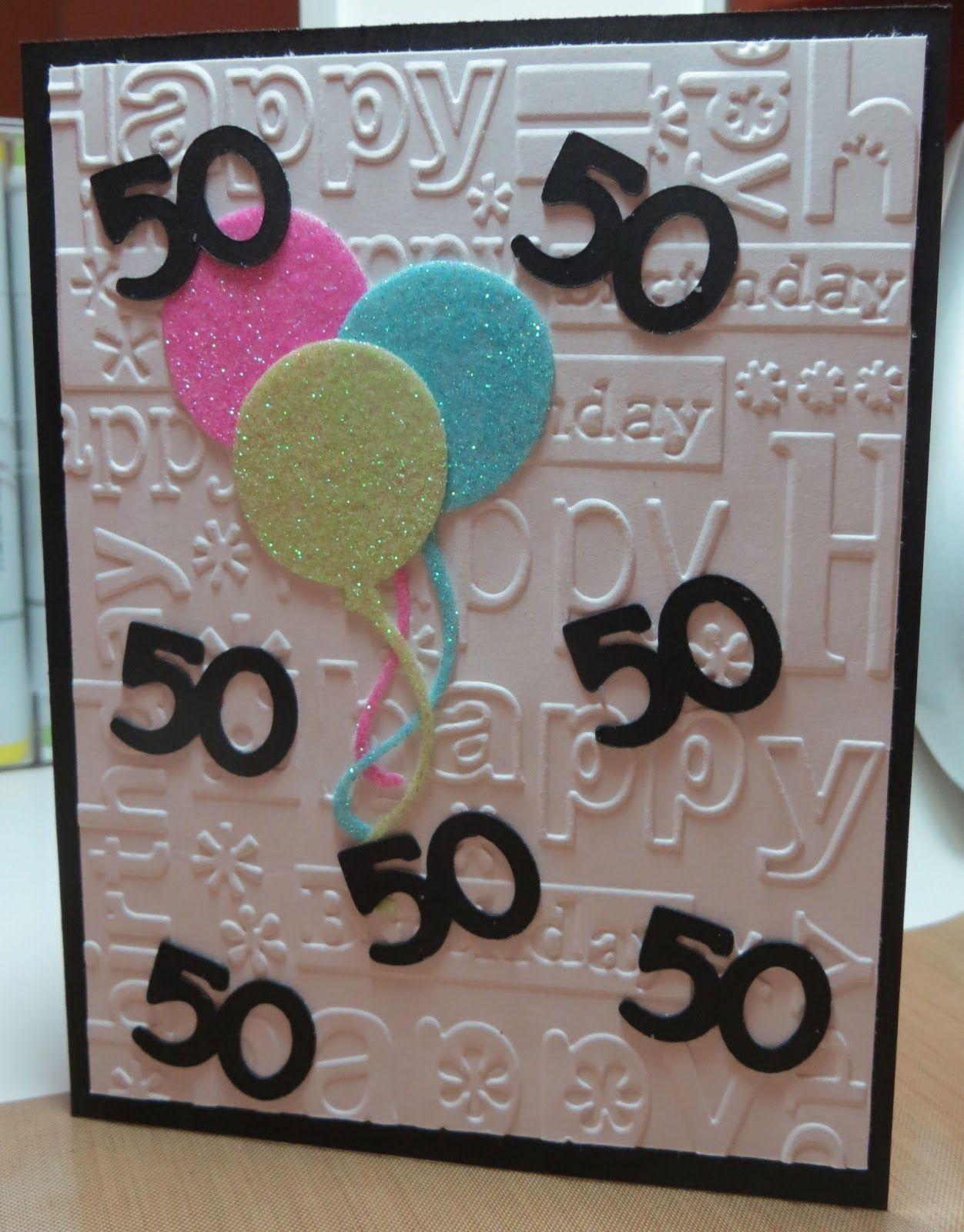 Here is the card that i designed for my sisters th birthday front