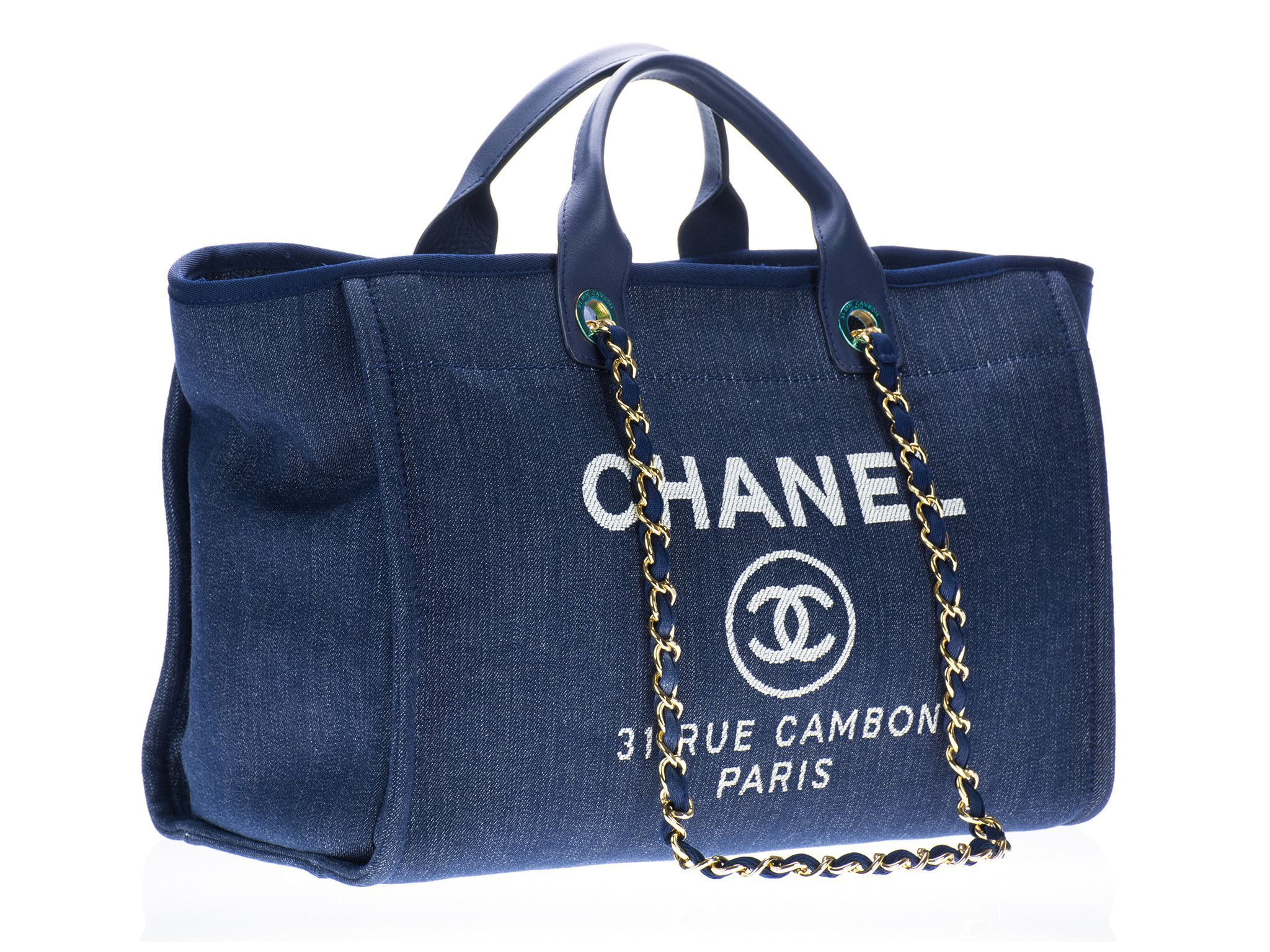 bb7ea6de212b Chanel Deauville Blue Canvas Tote Bag
