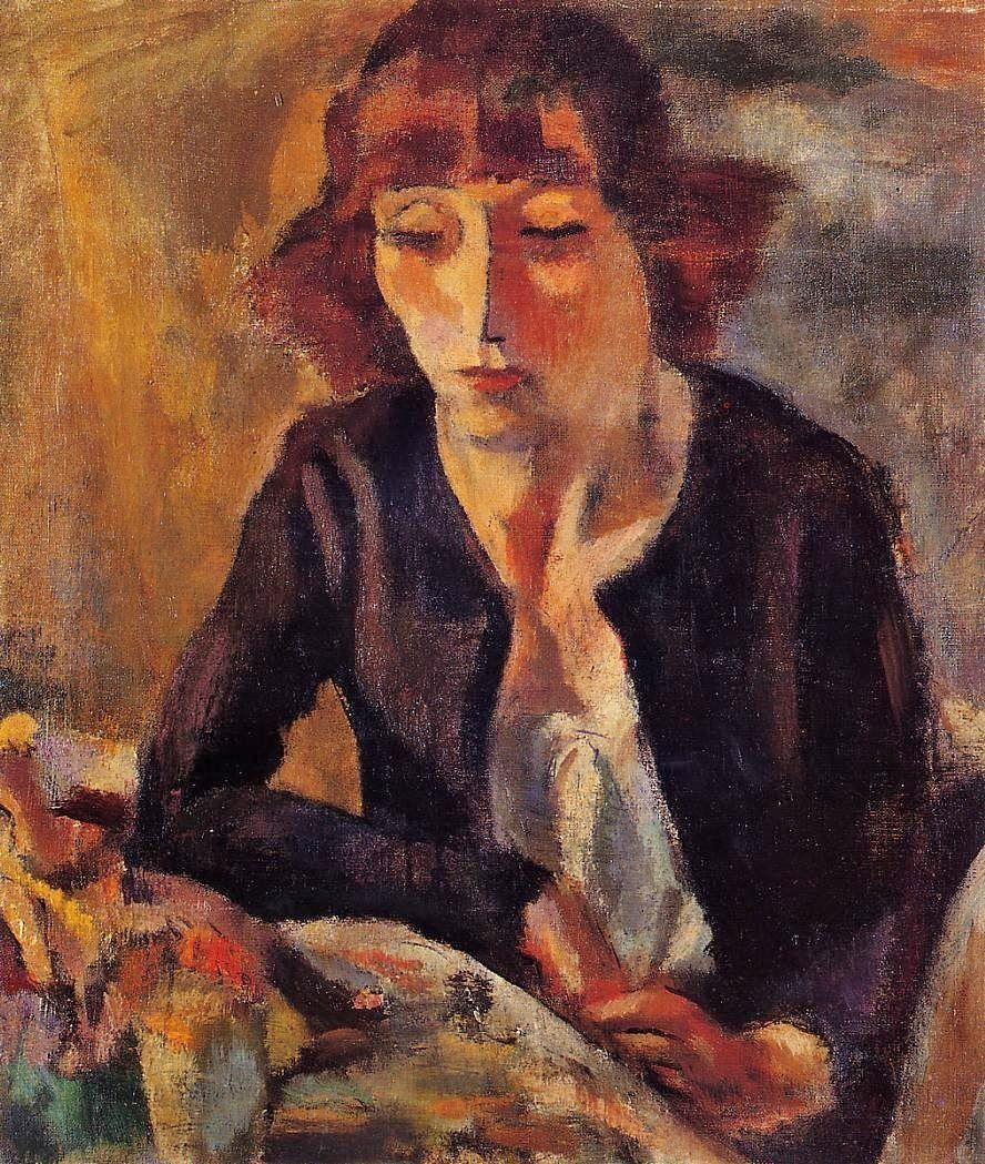 ♀ Painted Art Portraits ♀  Jules Pascin | Artist's Wife Hermine David, 1918