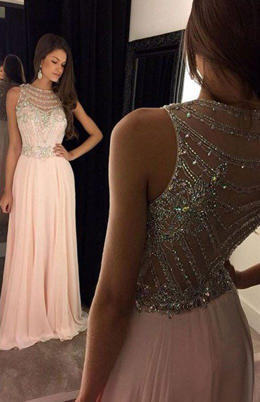 949b7574ec0 Elegant Long Light Pink Chiffon Evening Dress with Beading Bodice ...
