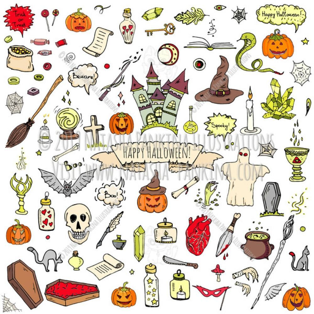 Halloween. Hand Drawn Doodle Autumn Holiday Colorful Icons Collection. Hand drawn Happy Halloween icons set. Vector illustration. Sketchy isolated icons. Collection of doodle various stylized holiday symbols collection. Cartoon outlined elements. For example: pumpkin, ghost, castle, bat, candy, witches cauldron, zombie hand and skull.  #art #vector #cute #drawing #handdrawn #handdrawing #artist #illustration #illustrator #doodle #doodleeveryday #cartoon #sketch #design #logo #halloween drawings
