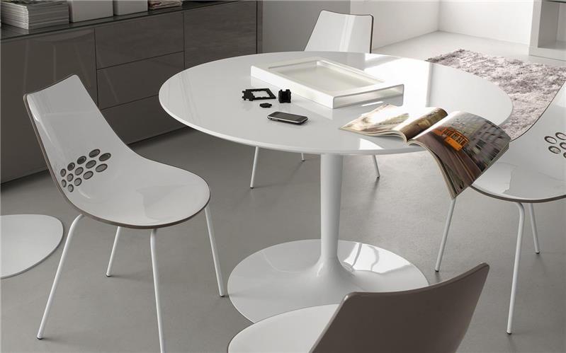 Table ronde blanche rétro pied central de la marque