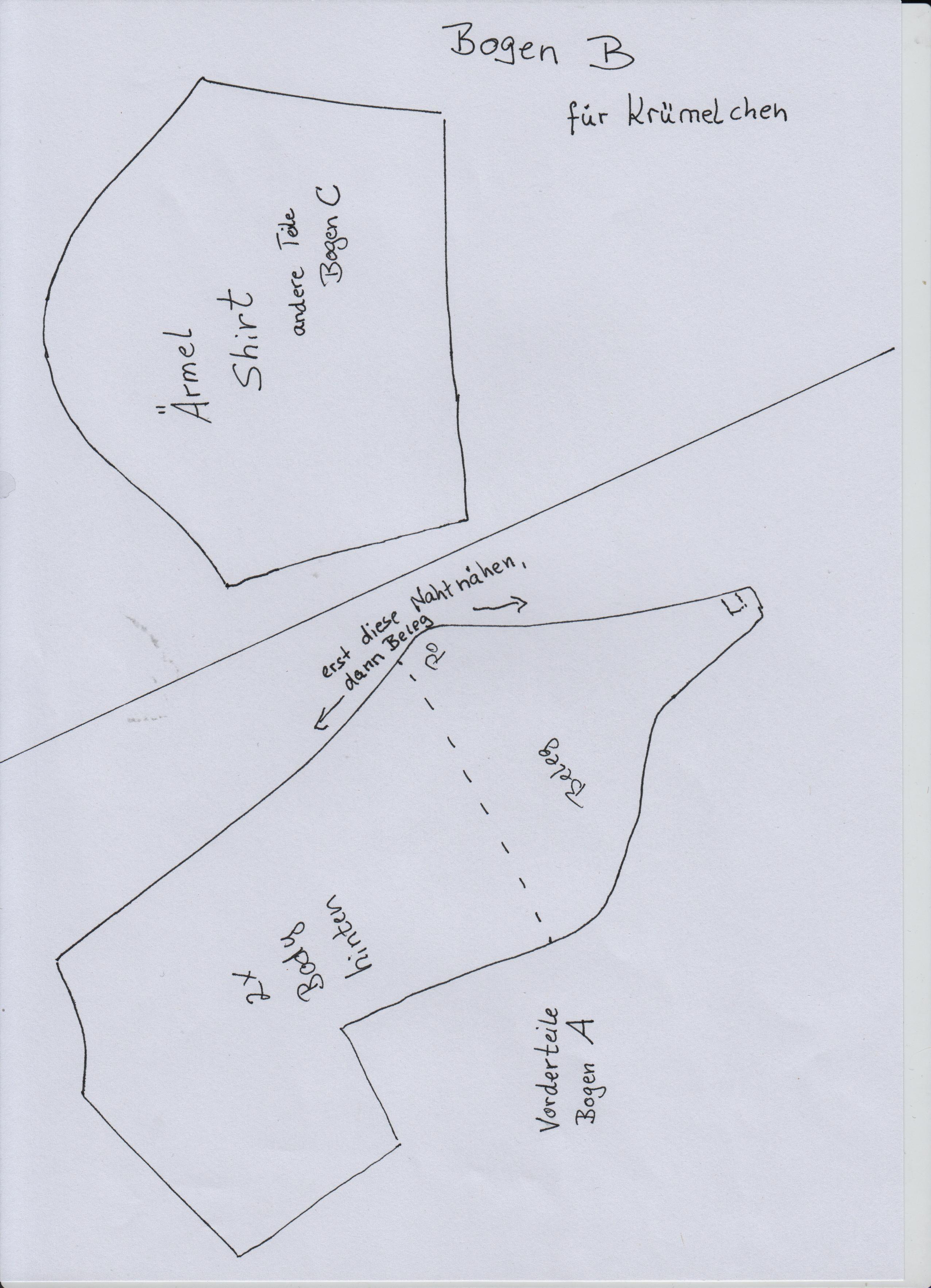 Schnittmuster Body Teil 1 von 2,  und Ärmel Shirt