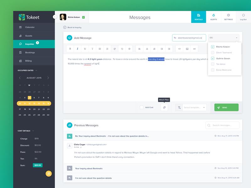 vacation rental management app wysiwyg email editor dashboard uidashboard designapp