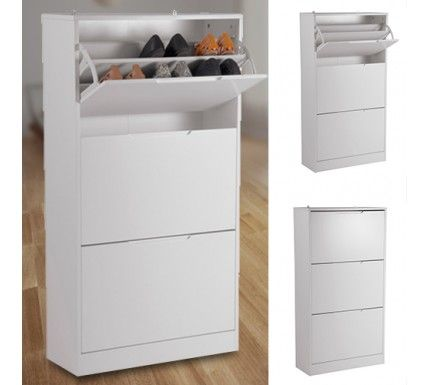 Flat Pack   Shoe Cabinet Ally (3 Draw   White)   UH2092 $90