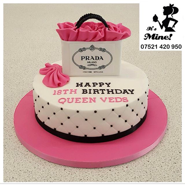 58f983a735a8 A white and pink black quilted birthday cake with a Prada shopping bag on  top by It's Mine Cakes
