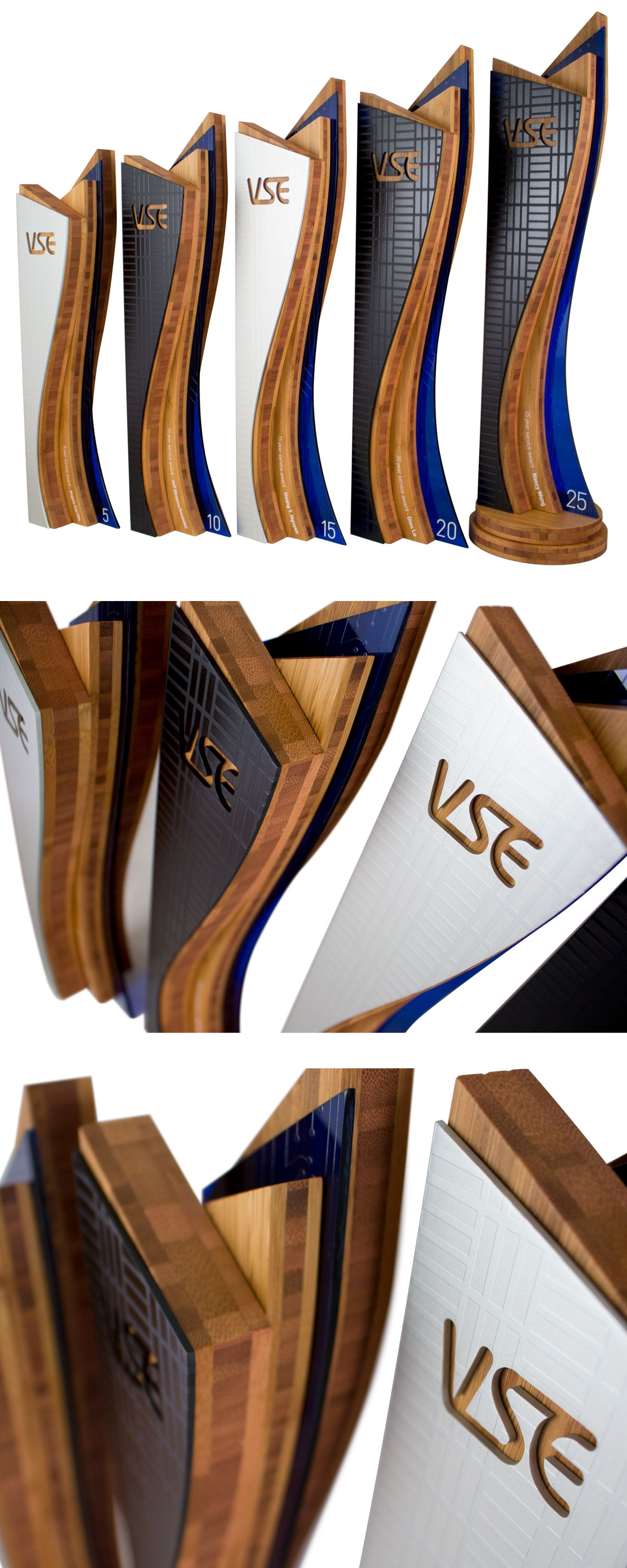 Unity tall modern trophy creative design beautiful materials not glass - We Custom Designed And Handcrafted These Long Service Awards For Our Client At Vse In San