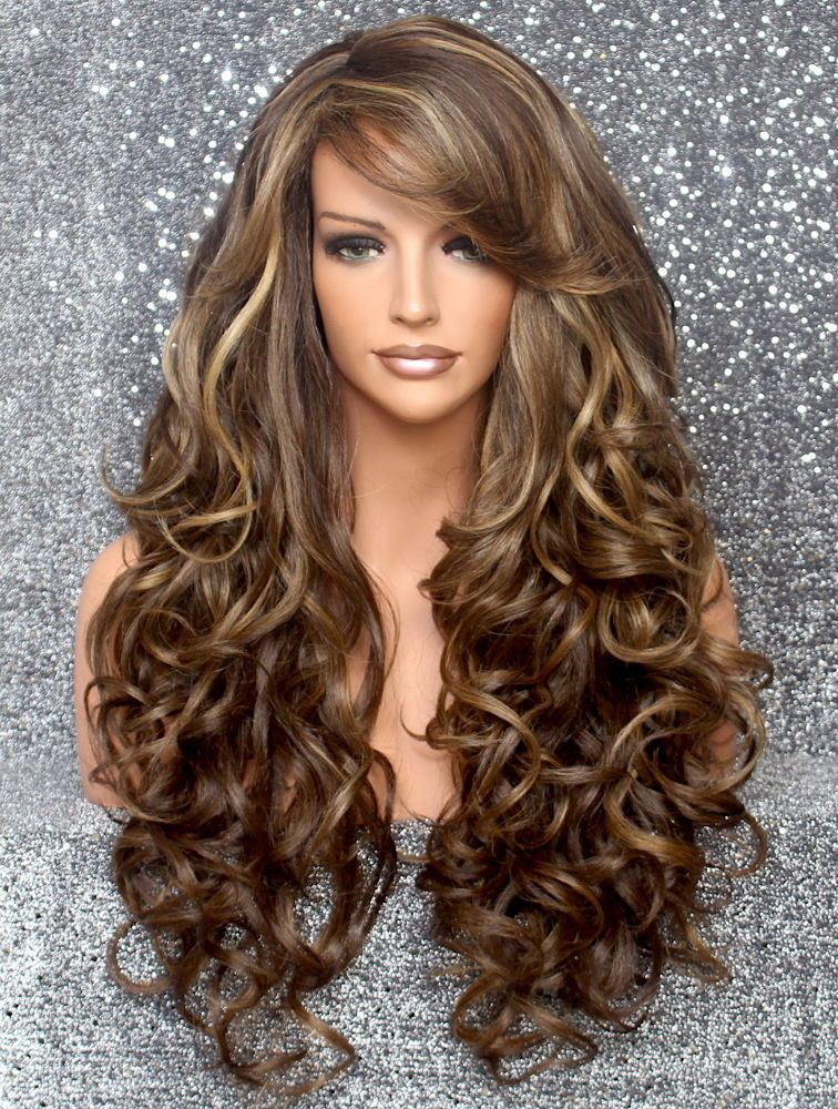 957aaa857 Details about Full Heat OK Curly Long Wig Brown mix Bangs Layered ...