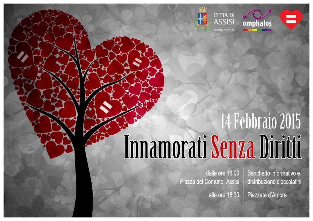 San Valentino: Omphalos in piazza ad Assisi per tutti gli innamorati senza diritti
