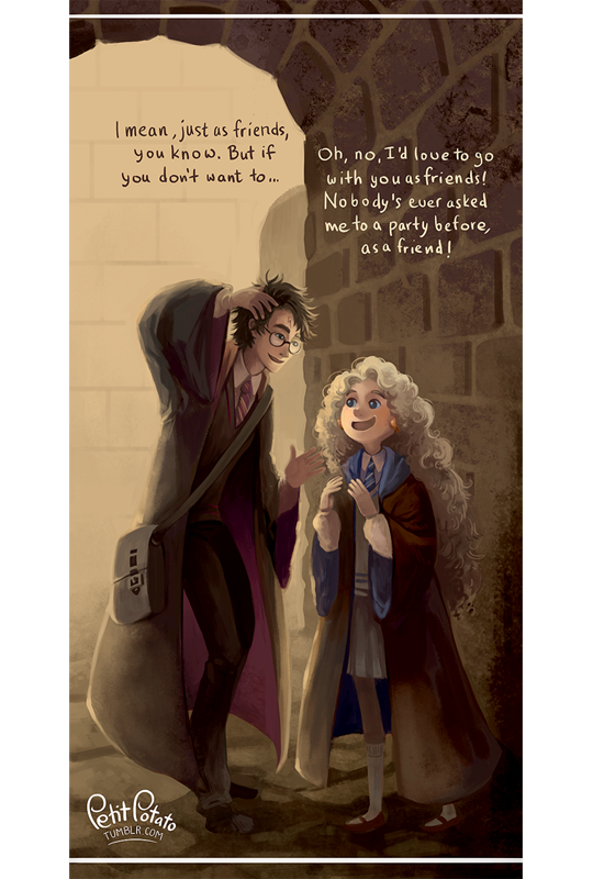 Harry and Luna - This part, where Harry asks Luna to Prof. Slughorns party is one of my favourite. Because being invited somewhere as a friend is great and important - not a disappointment, as it is often made out to be.