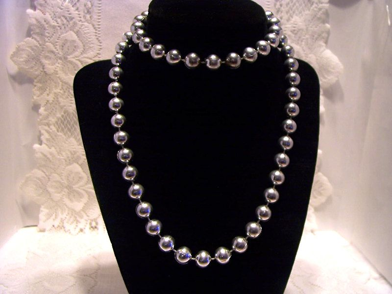 Vintage Silver Beads With Locking Clasp..
