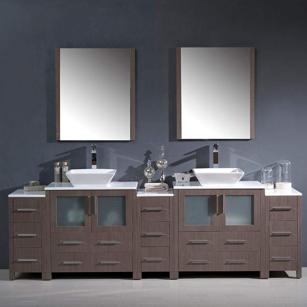 Fresca Torino 96 Inch Vanity With Side Cabinets Vessel Sinks