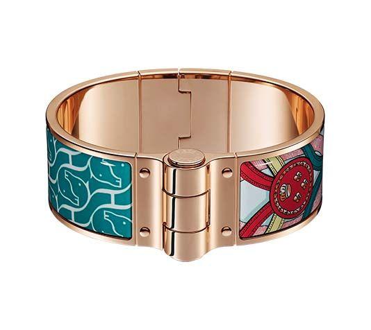 34fd81b85ab6 Cavalcadour à Cheval Hermes wide hinged bracelet in enamel (size S) Rose  gold plated hardware, 1