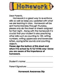 Homework help letter to parents