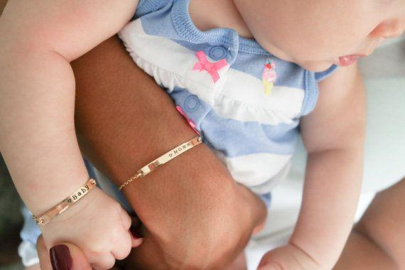 Baby Bracelet Matching Bar Bracelet Set Rose Gold Filled Sterling Silver Newborn Infant Christening Jewelry Font C Baby Bracelet Bar Bracelets Bracelet Set