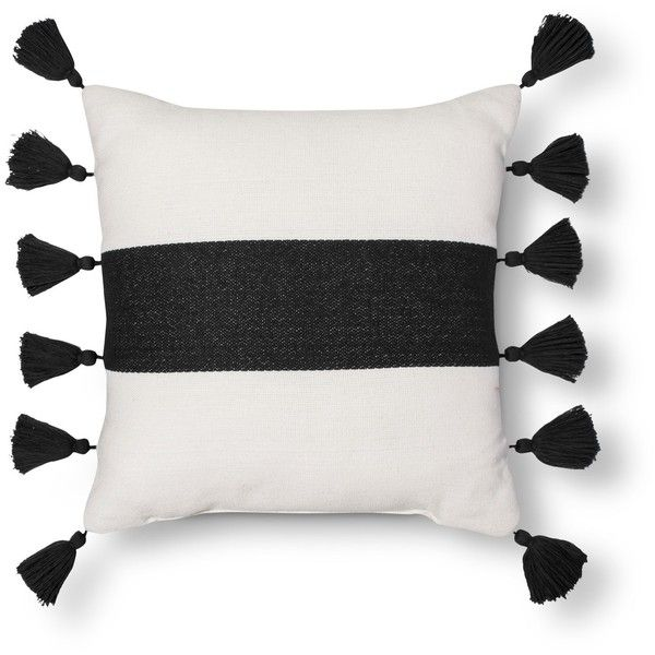 Threshold™ Striped Tassel Pillow Black Target 40 Via Polyvore Amazing Better Homes And Gardens Ivory Dot Oblong Decorative Pillow