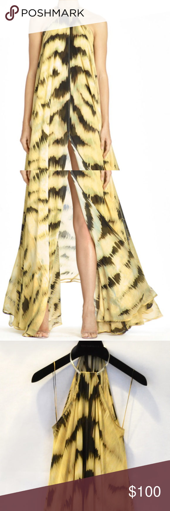 Tiger Chiffon Halter Duster Dress Tiger print, 100% silk. Metal ring neckline detail. KAUFMANFRANCO Dresses Maxi