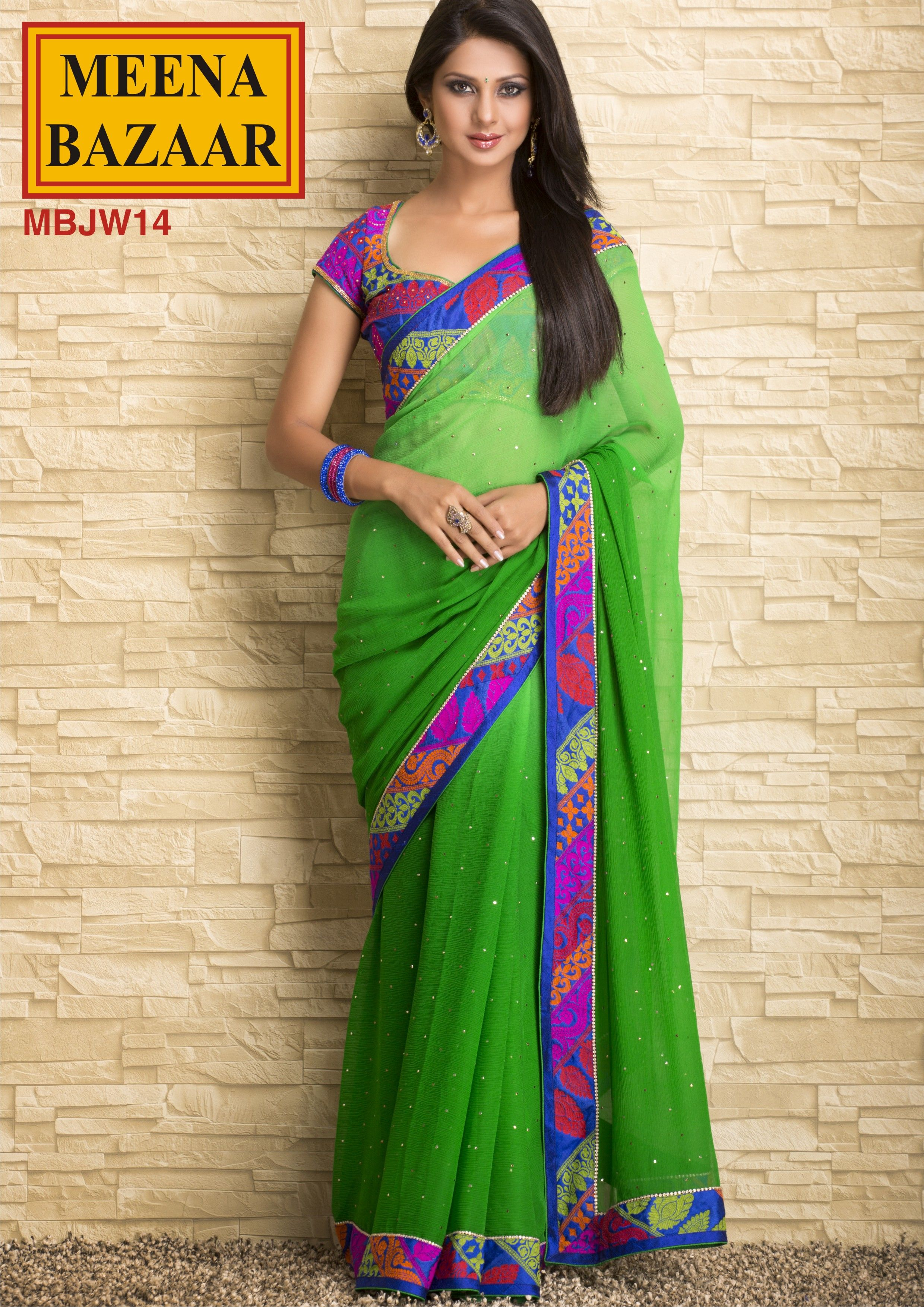 Mukaish work Saree on Chiffon Fabric with contrast Blouse by Meena Bazaar